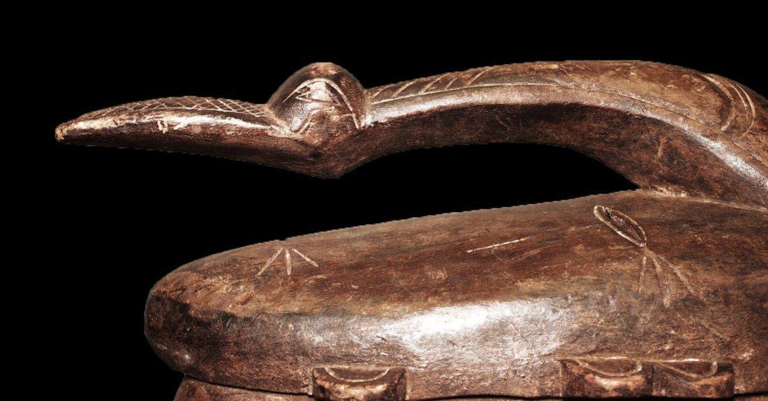 "OLD CARVED WOOD BIRD MASK BAMBARA 53cm 21"" - 9"