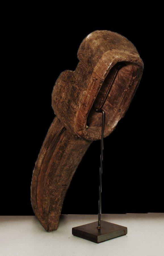 "OLD CARVED WOOD EBRIE' PEOPLE BIRD MASK 61cm 24"" - 4"