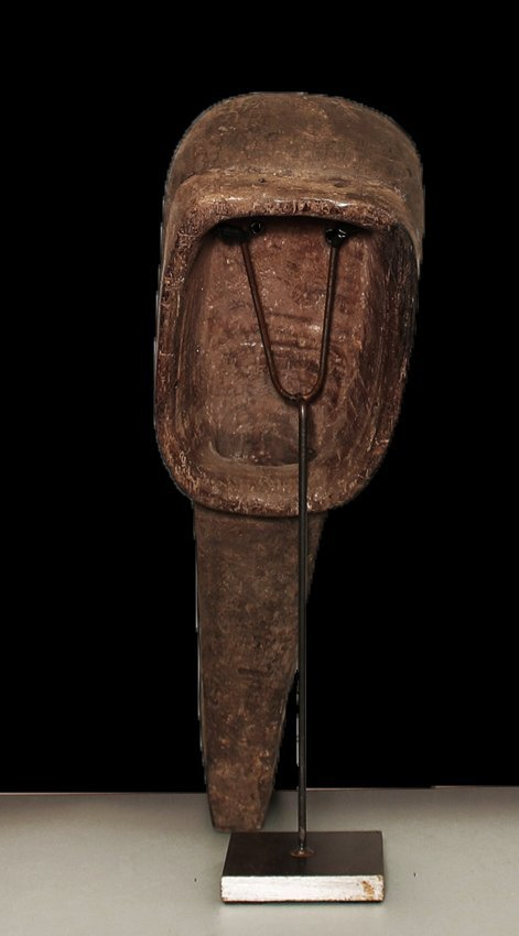 "OLD CARVED WOOD EBRIE' PEOPLE BIRD MASK 61cm 24"" - 5"