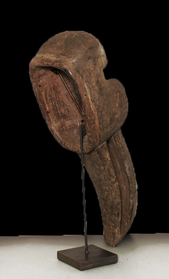"OLD CARVED WOOD EBRIE' PEOPLE BIRD MASK 61cm 24"" - 6"