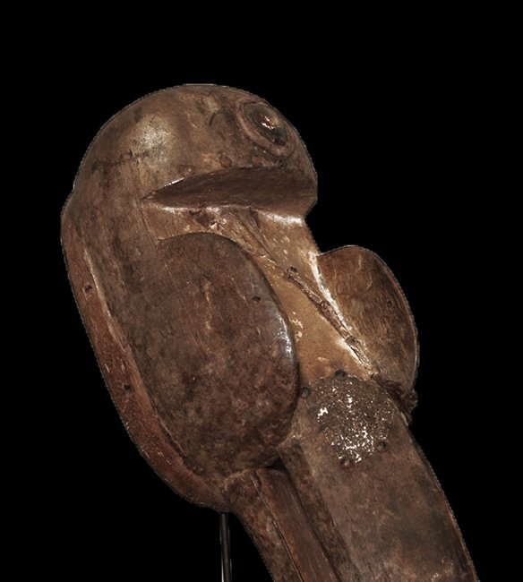 "OLD CARVED WOOD EBRIE' PEOPLE BIRD MASK 61cm 24"" - 7"