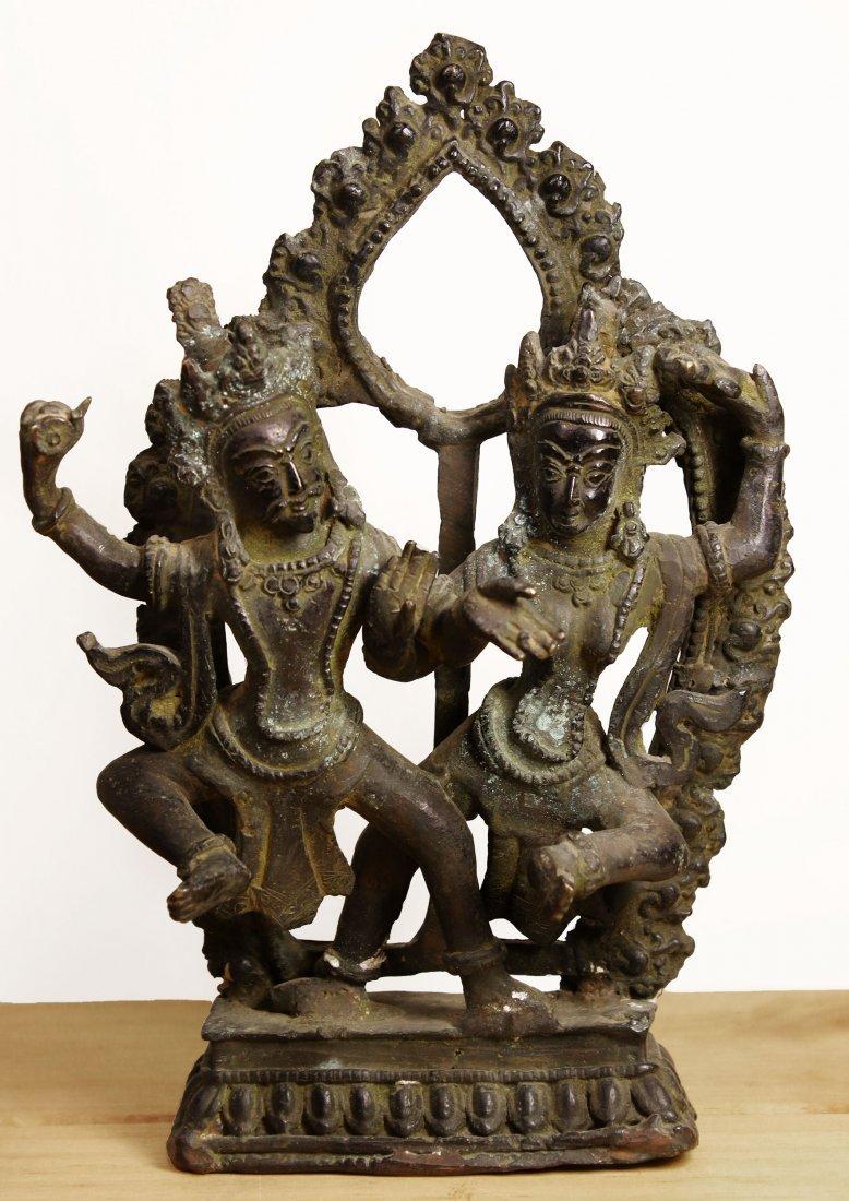 Nepal. Temple Bronze Shiva and Parvati dancing statue.