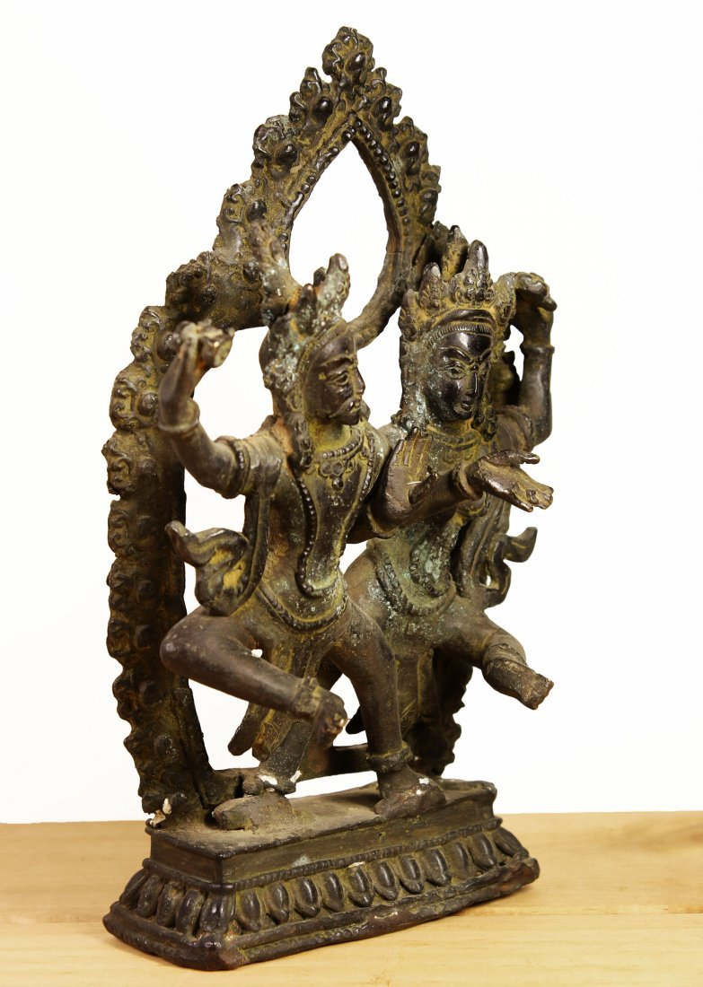 Nepal. Temple Bronze Shiva and Parvati dancing statue. - 2