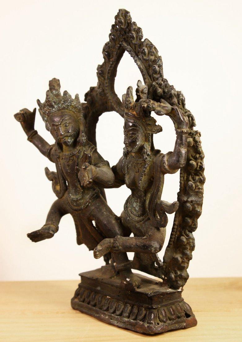 Nepal. Temple Bronze Shiva and Parvati dancing statue. - 3