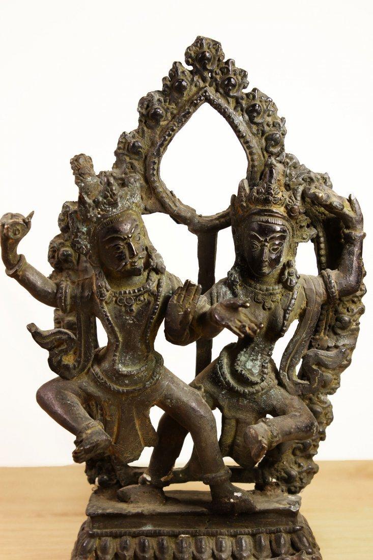 Nepal. Temple Bronze Shiva and Parvati dancing statue. - 4