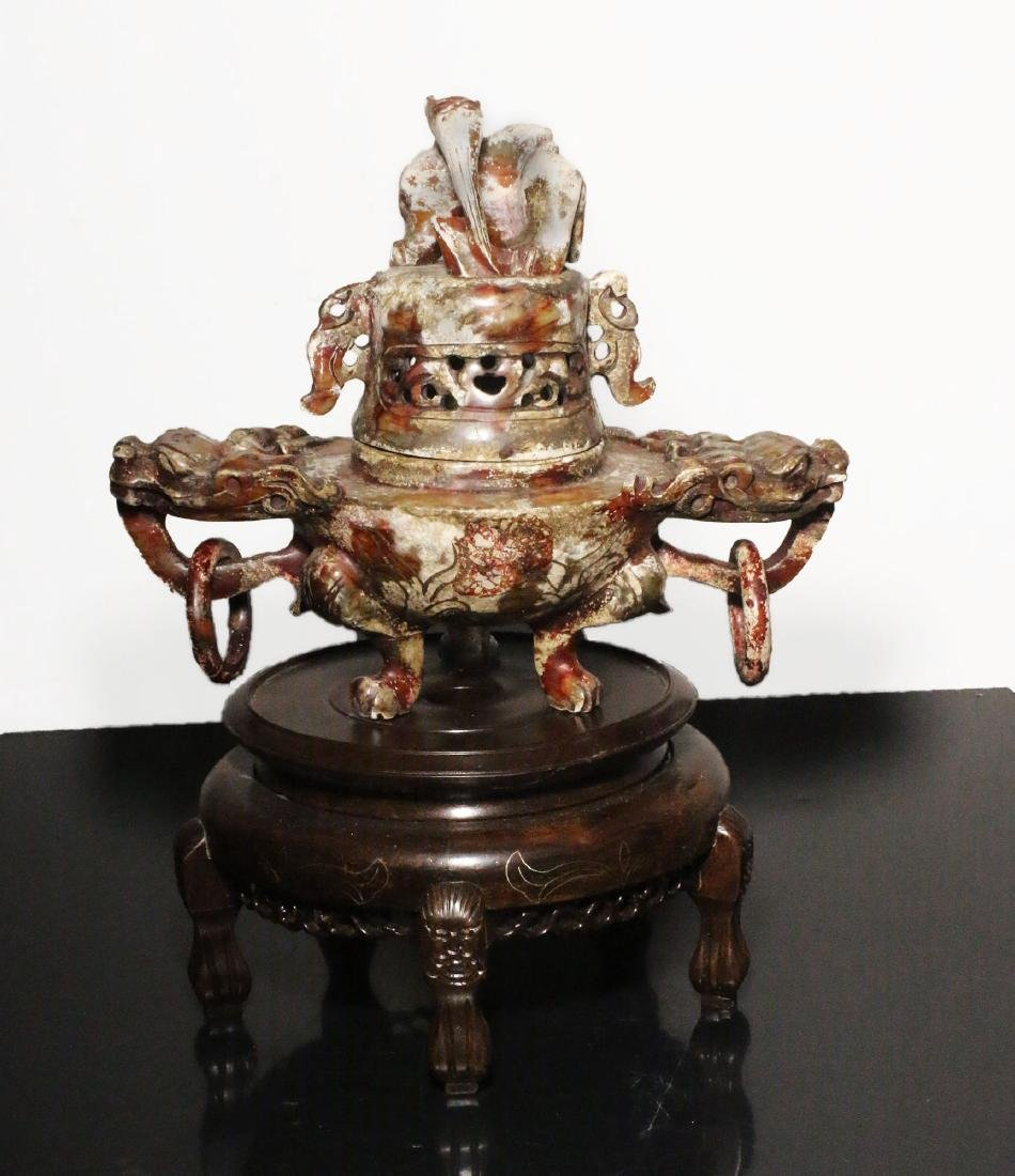 China. Qing Dynasty 1850 AD. Great Jade censer. 1,6 Kg.