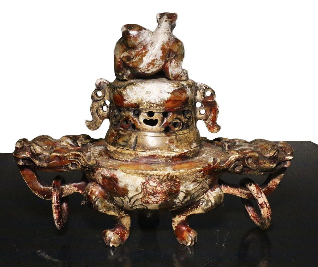 China. Qing Dynasty 1850 AD. Great Jade censer. 1,6 Kg. - 4
