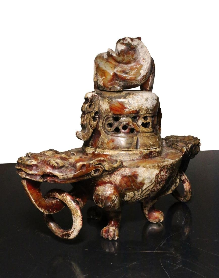 China. Qing Dynasty 1850 AD. Great Jade censer. 1,6 Kg. - 5