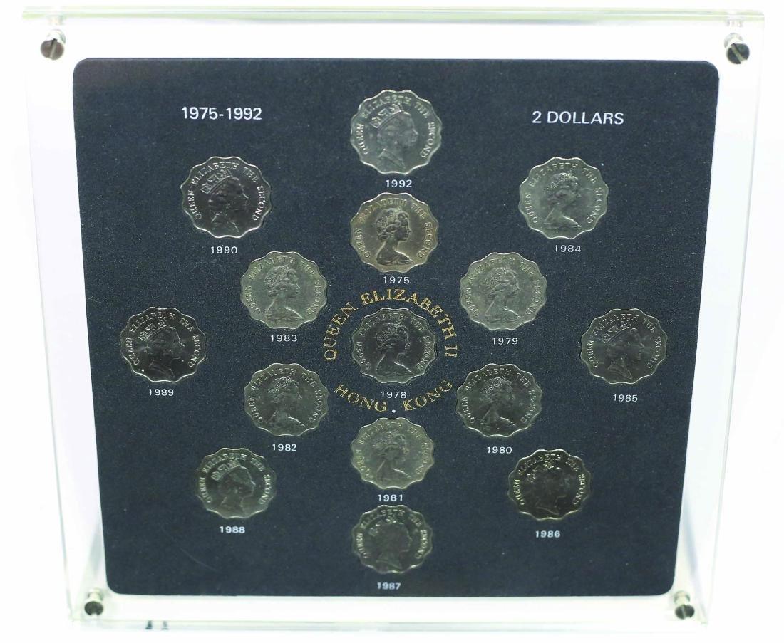 1975-1992 Hong Kong $2 Queen Elizabeth II Coin set