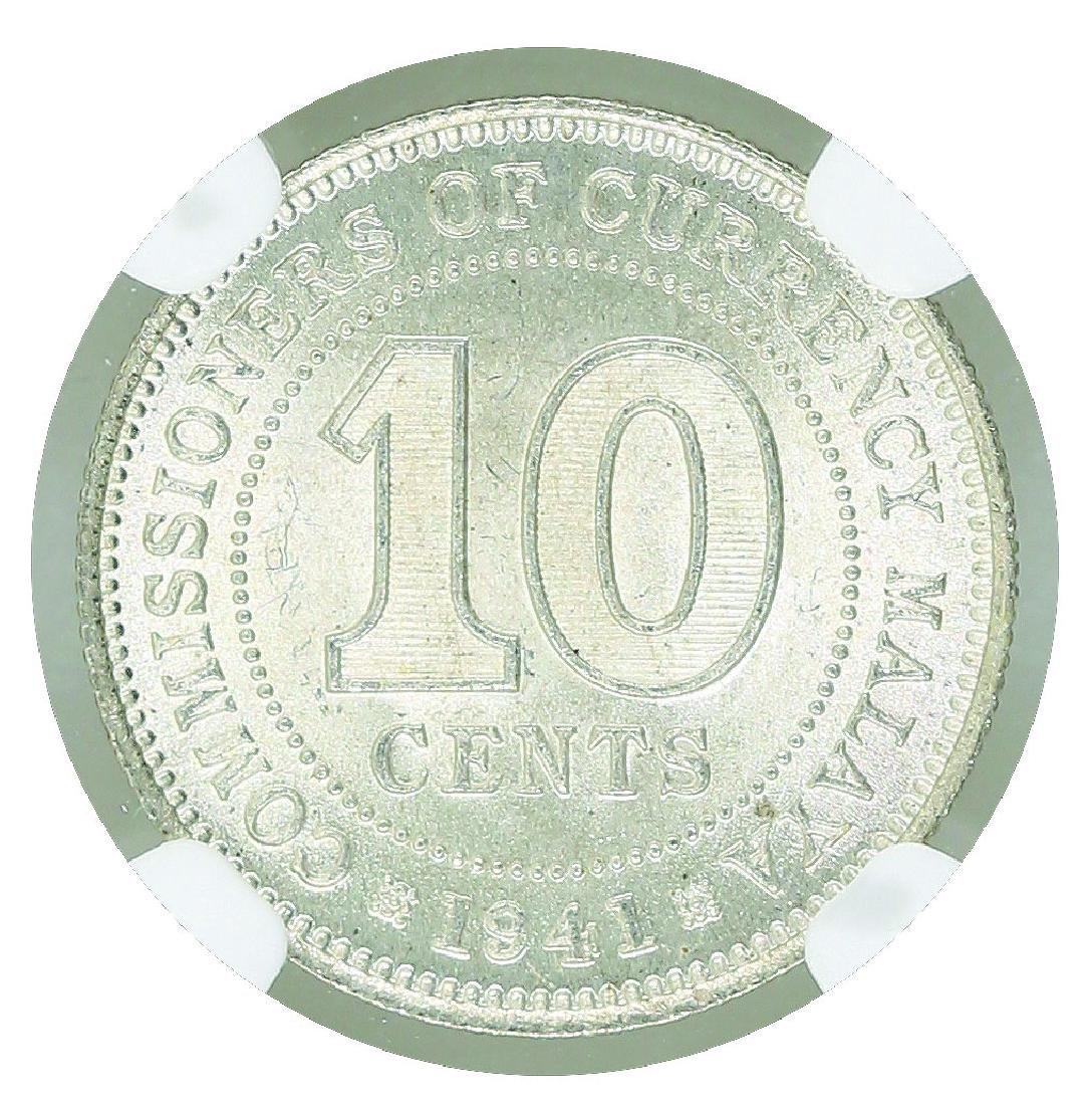 Malaya 1941 10 Cents NGC MS 63 - 2