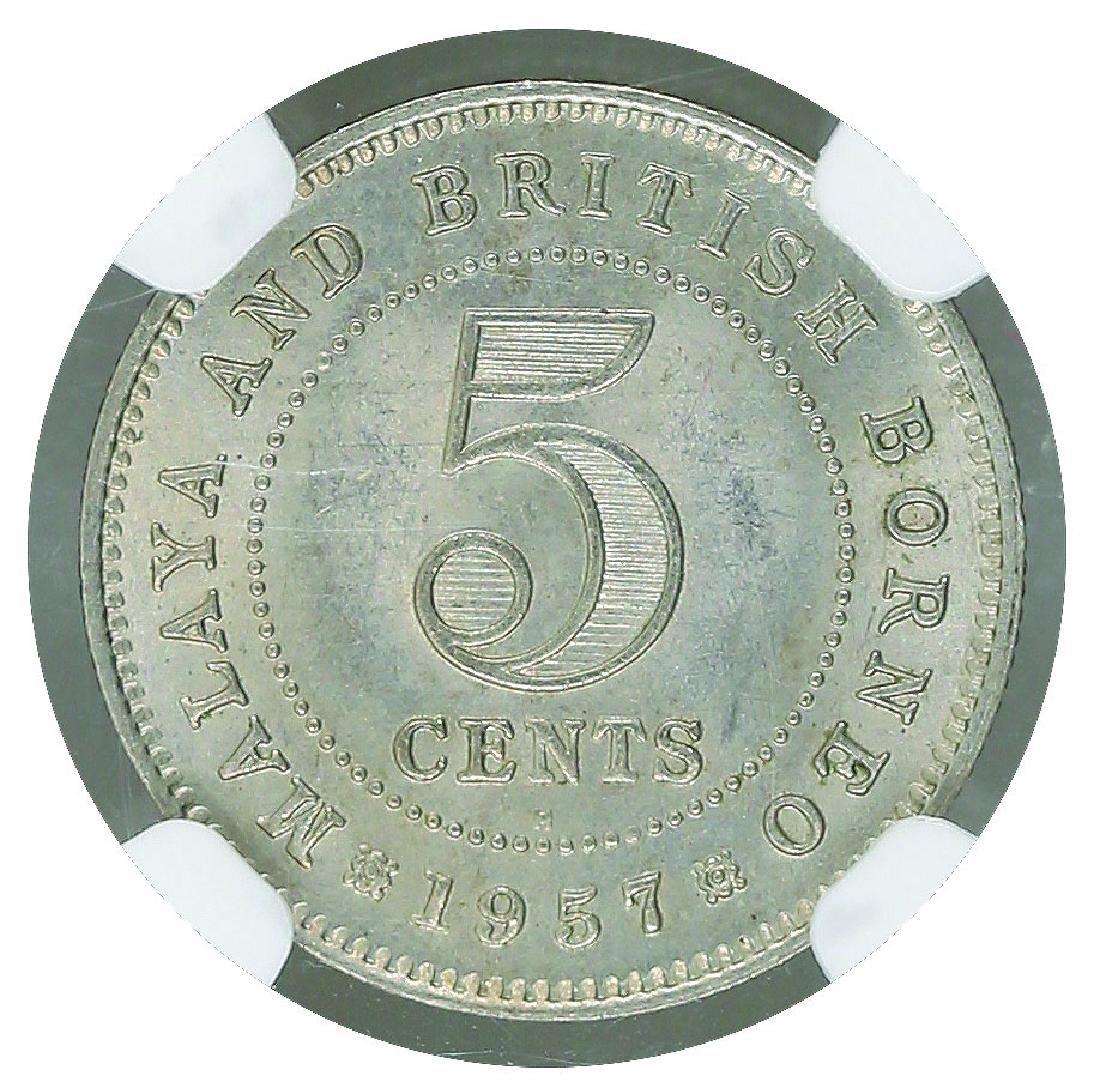 Malaya British Borneo 1957H 5 Cents NGC MS 64 - 2