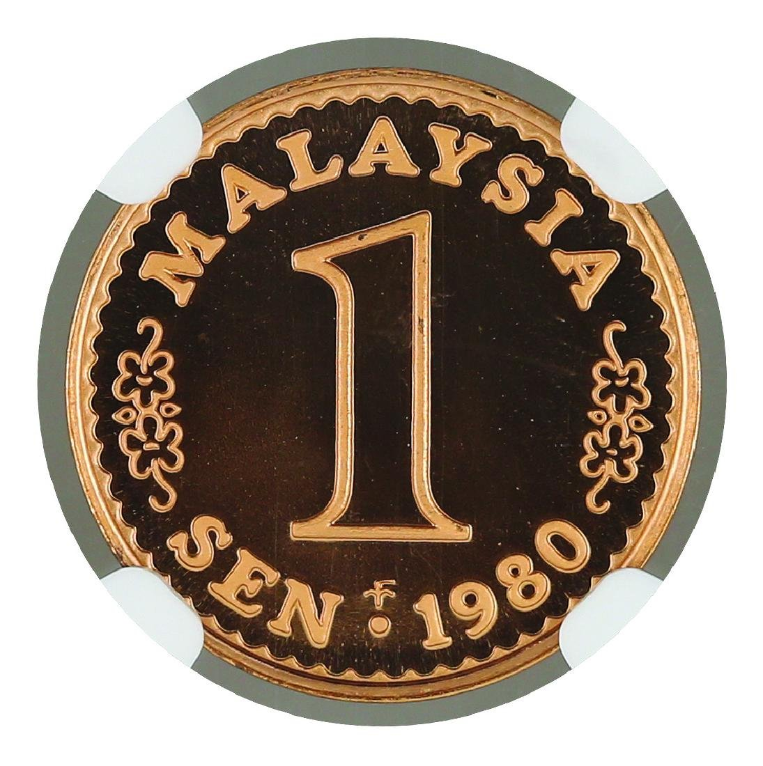 1980 Malaysia  1 Cent Proof, NGC PF 69 Ultra Cameo