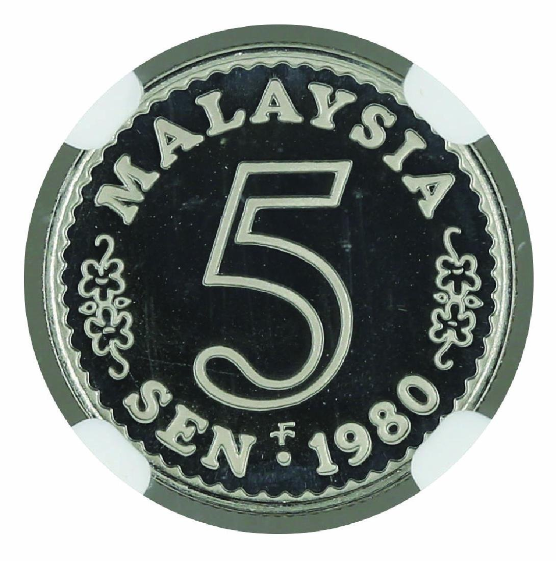 1980 Malaysia  5 Cents Proof, NGC PF 69 Ultra Cameo