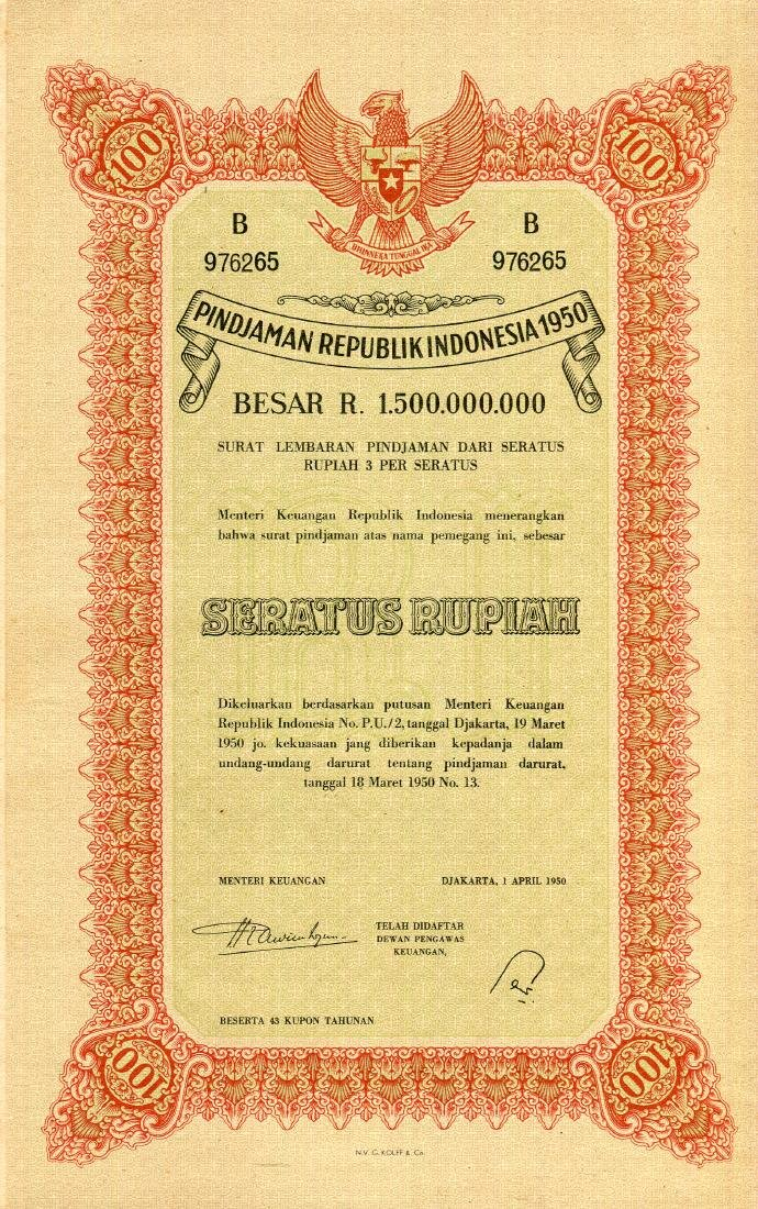 Republik Indonesia 1950 Pindjaman 100, 500, 1,000