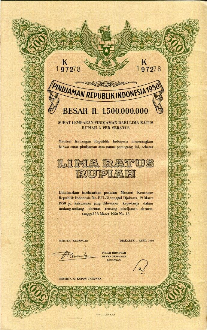 Republik Indonesia 1950 Pindjaman 100, 500, 1,000 - 2