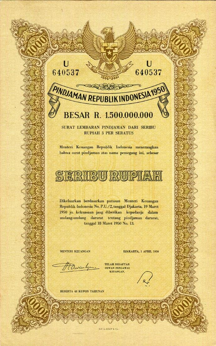 Republik Indonesia 1950 Pindjaman 100, 500, 1,000 - 3
