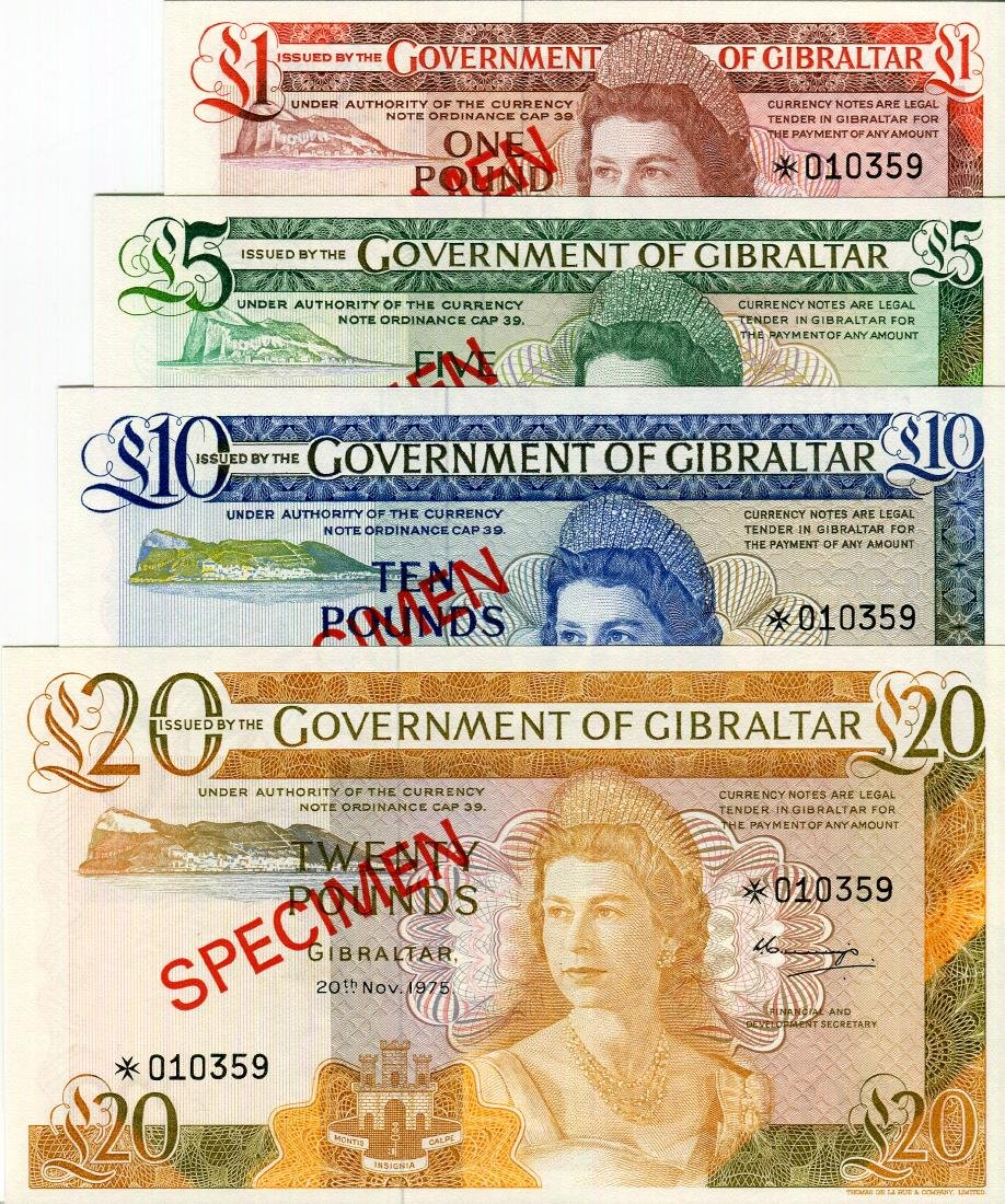 Gibraltar Specimen Set 1975 (P20s-23s) Serial no.010359