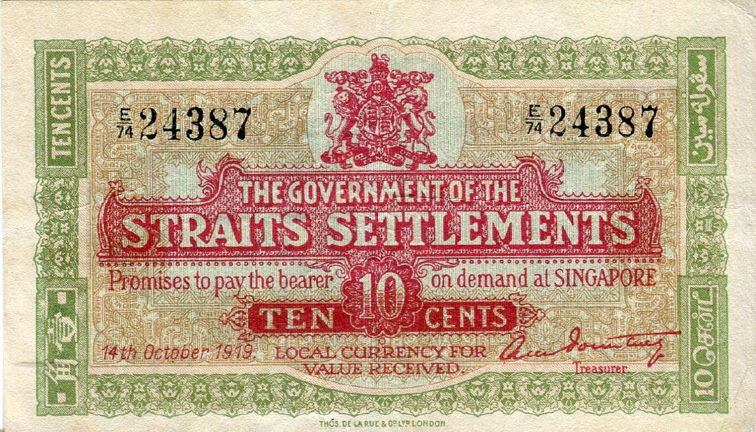 Straits Settlements 10 Cents 14 Oct 1919