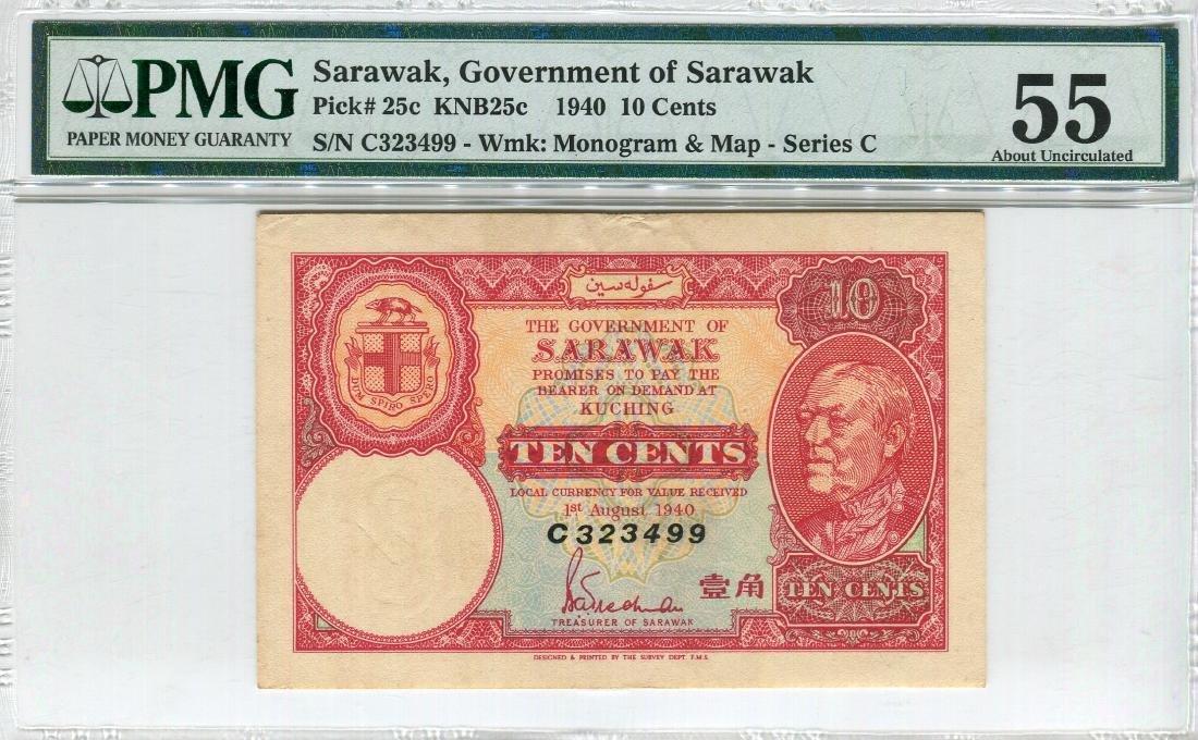 Sarawak 1940 10 Cents (P25c:KNB26c) PMG AU 55.