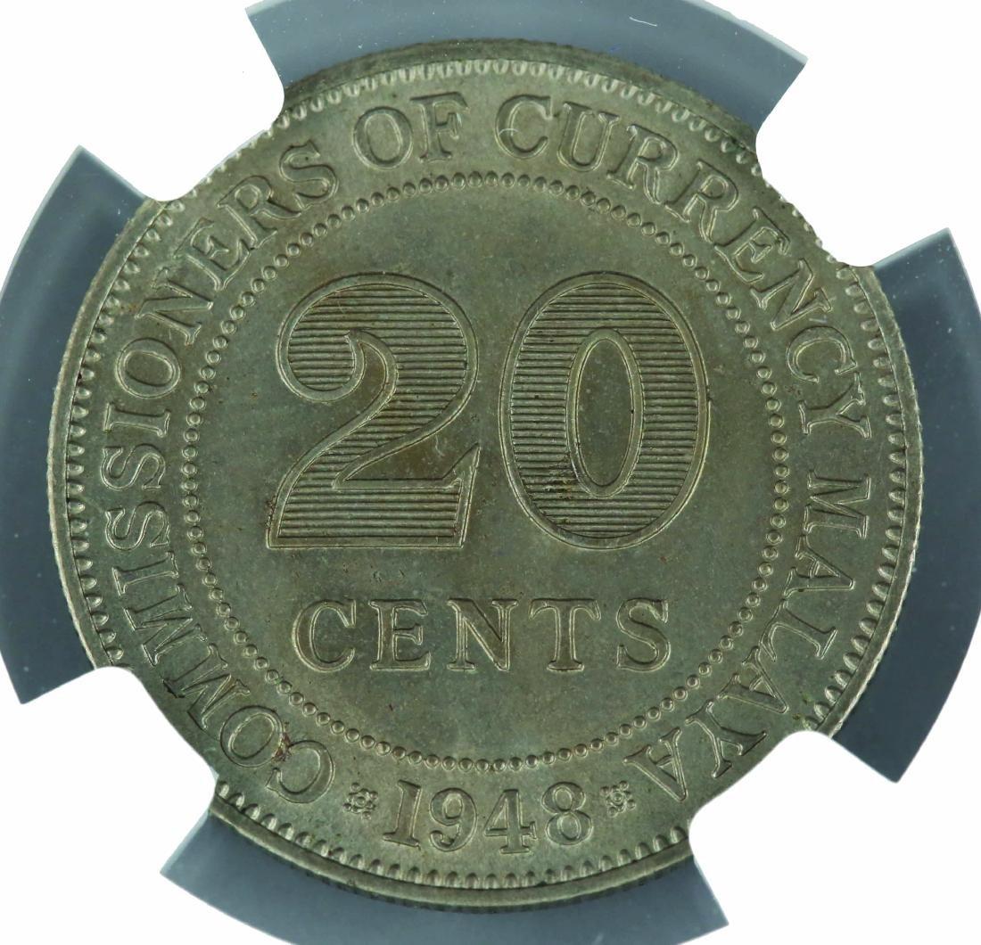 1948 Malaya 20 Cents, NGC MS 63 - 2