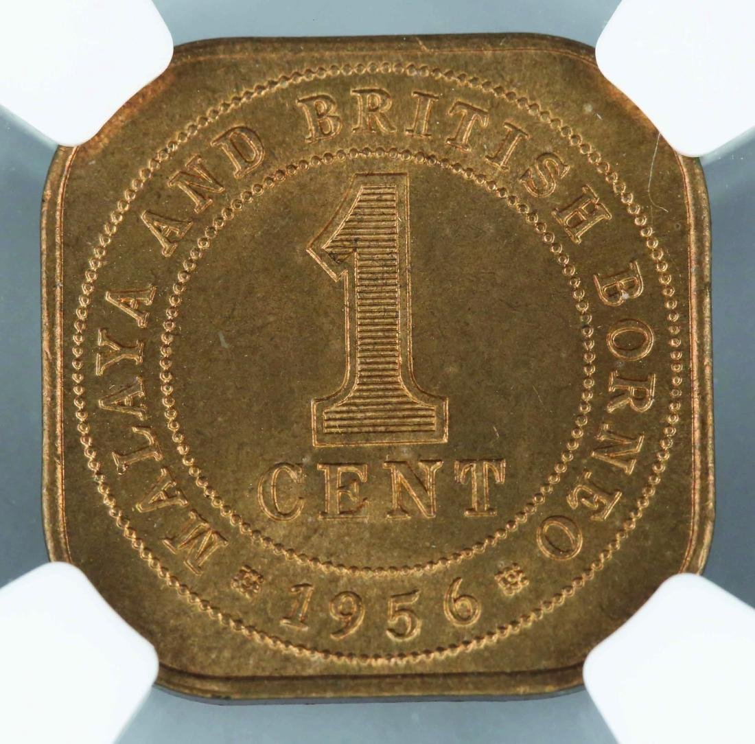 1956 Malaya British Borneo 1 Cent, NGC MS64RD - 2