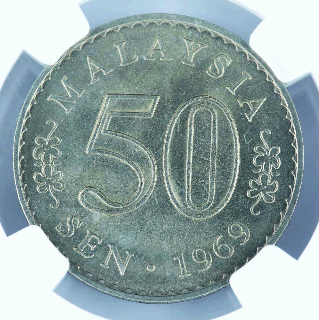 1969 Malaysia 50 Cents, NGC MS 64, Security Edge