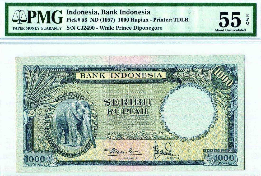 Indonesia 1957 1,000 Rupiah (P53) Serial no. CJ249