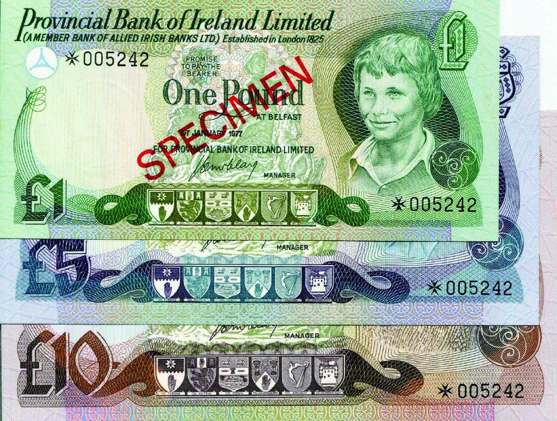Provincial Bank of Ireland. 1977, 1,5,10 Pounds.
