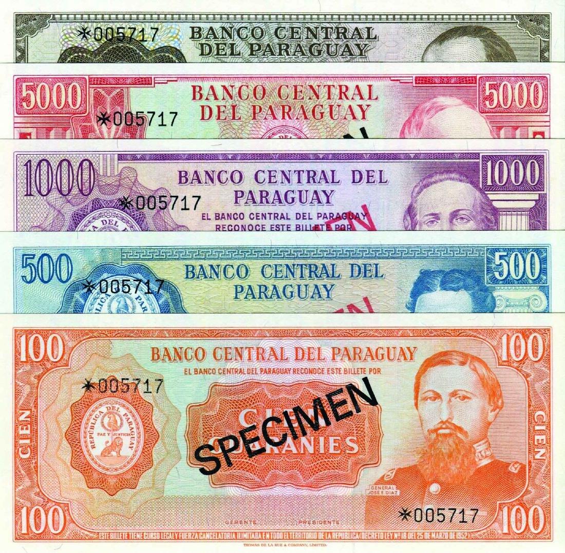 Paraguay 1982/90, 100,500,1000,5000 & 10,000 Guaranies