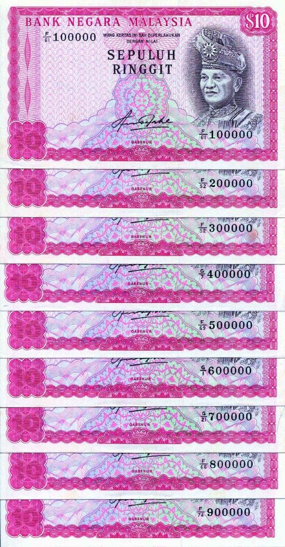 10 Ringgit 4th Series, AU - UNC (9pcs) light foxing