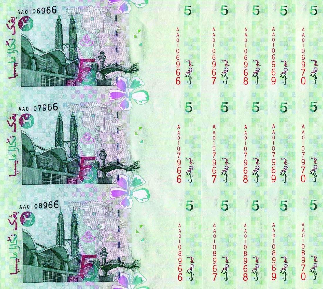 5 Ringgit 10th Series, AA 0106996 - 6970