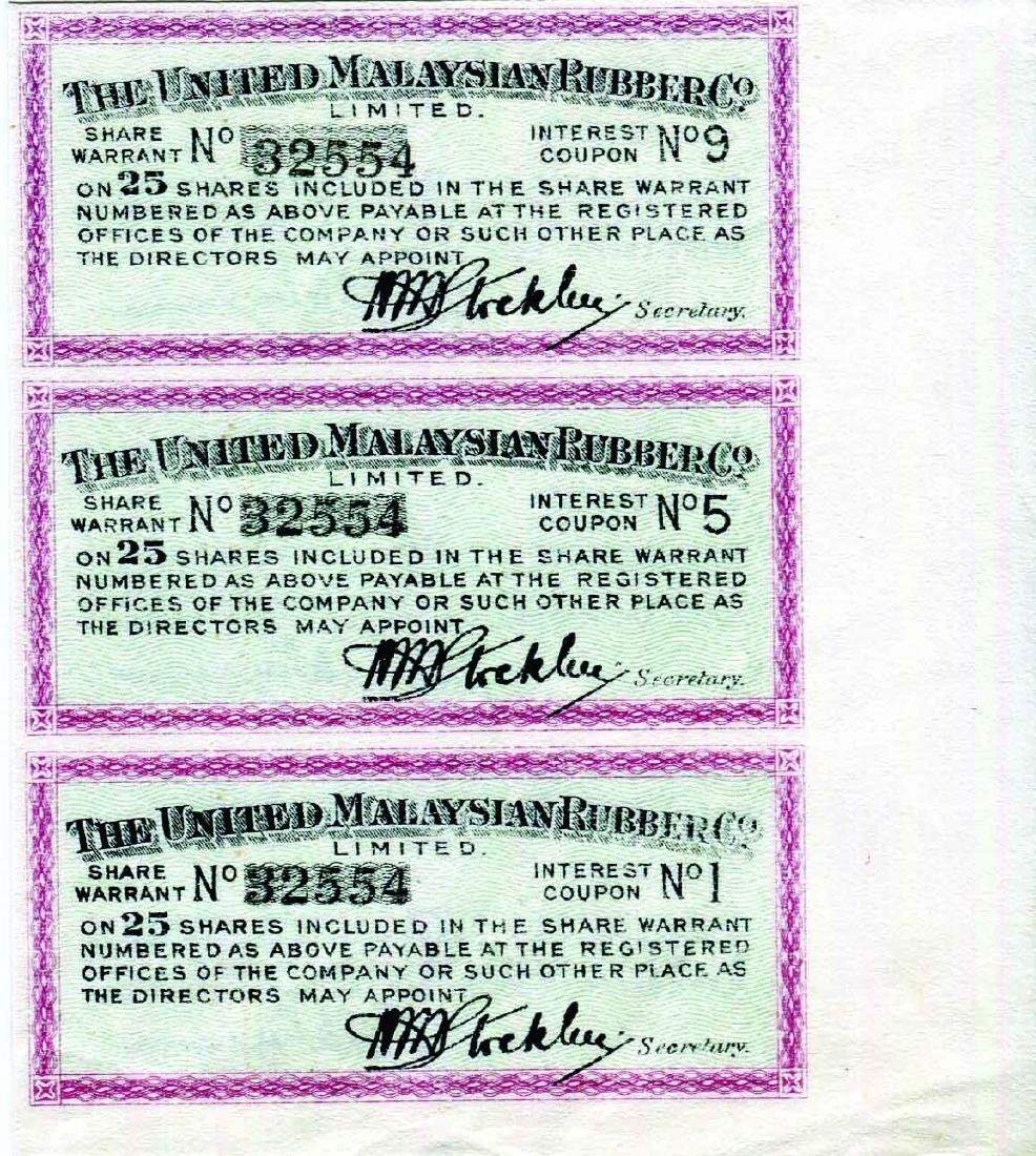 The United Malaysia Rubber Share Warrant Uncut Sheet of