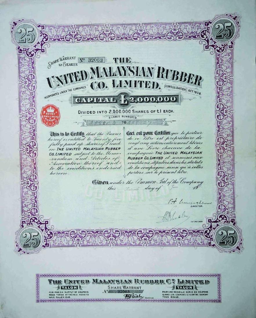 The United Malaysian Rubber Co. Ltd. Share Warrant