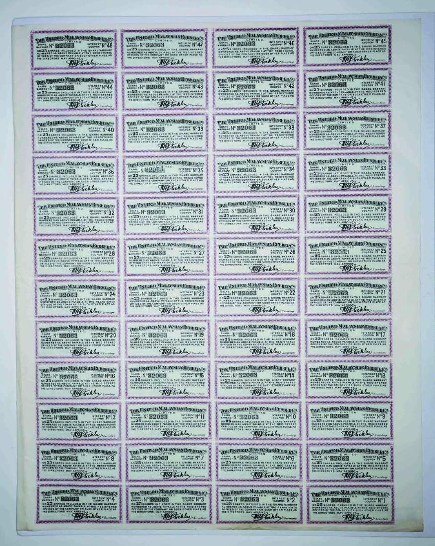 The United Malaysian Rubber Co. Ltd. Share Warrant - 2