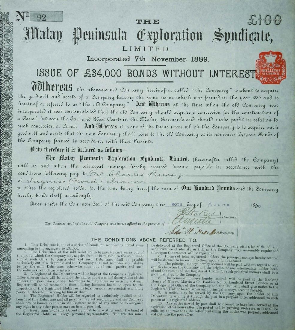 Malay Peninsula Exploration Syndicate, Bond