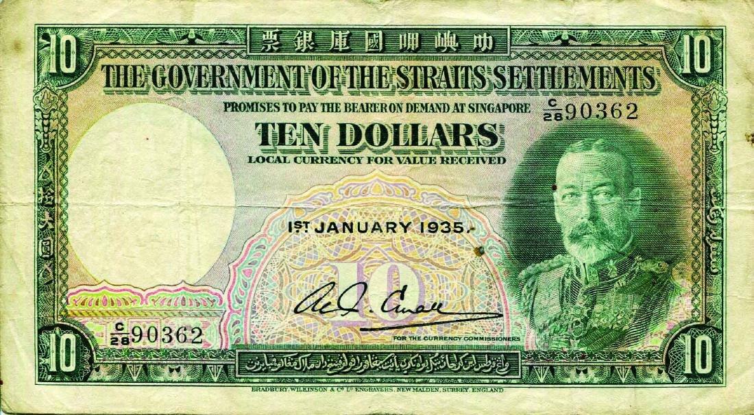 Straits Settlement 1935 10 Dollars, C/28 90362