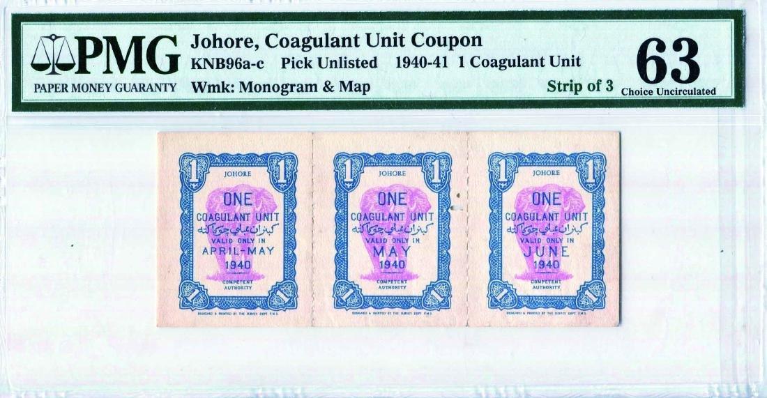 Johore, 1940, 12 Coagulant Unit Coupon