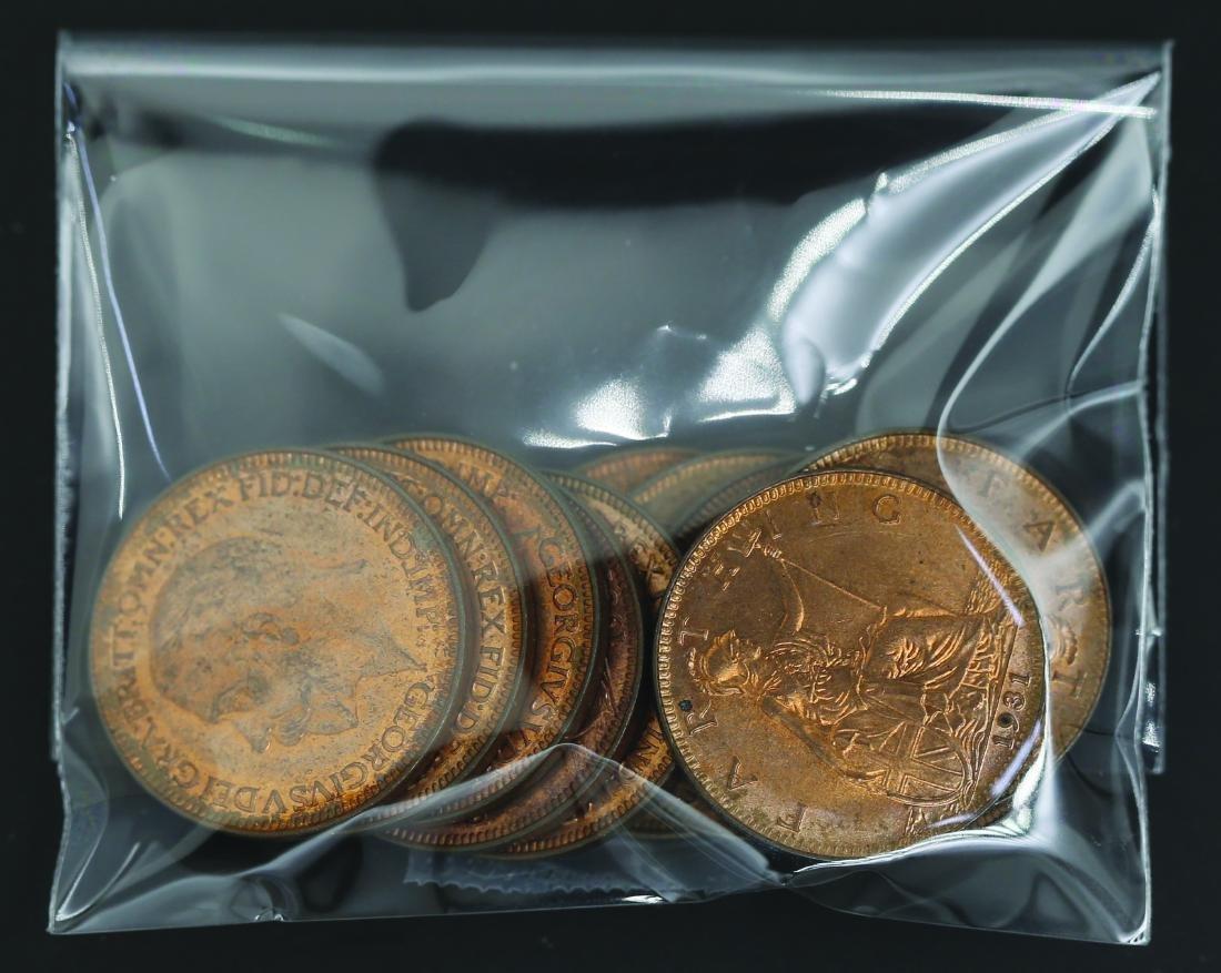 United Kingdom 1931, 1/4 Cents Penny AU - UNC (11pcs)