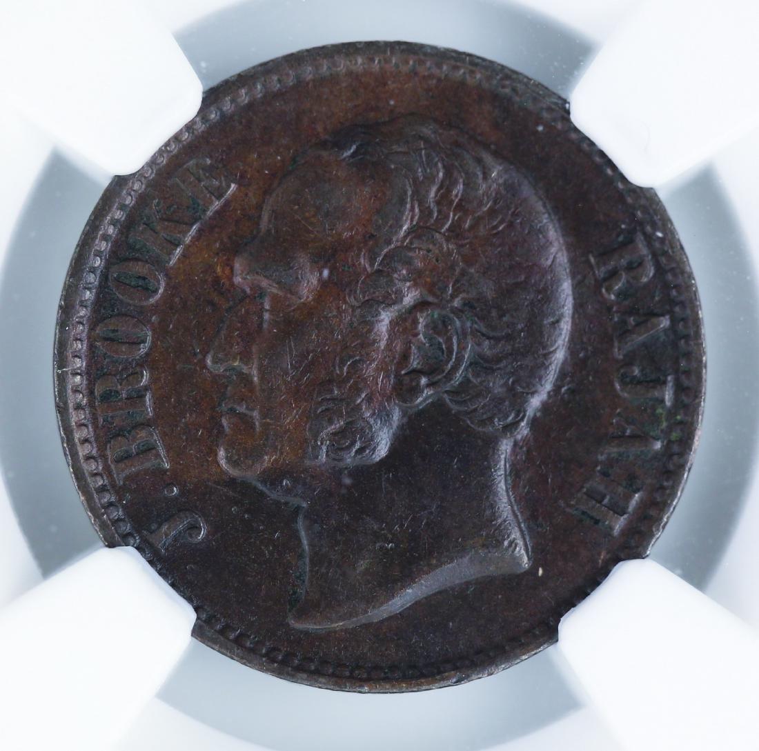 Sarawak 1863, 1/2 Cent NGC XF 40 BN