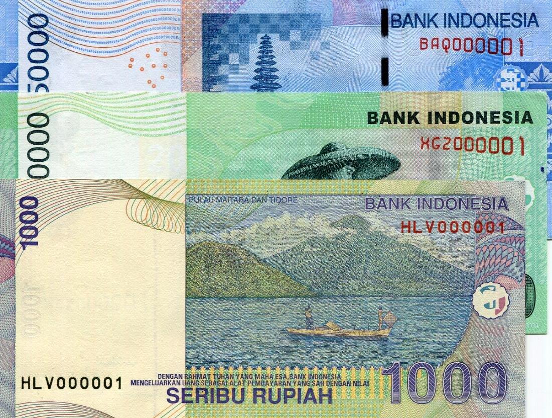 Indonesia 1,000, 20,000, 50,000 Serial no. HLV 000001,