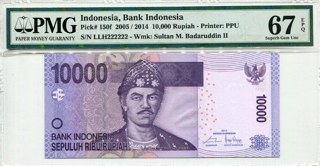 Indonesia 2005/14 10,000 Rupiah (P150f) Serial no. LLH