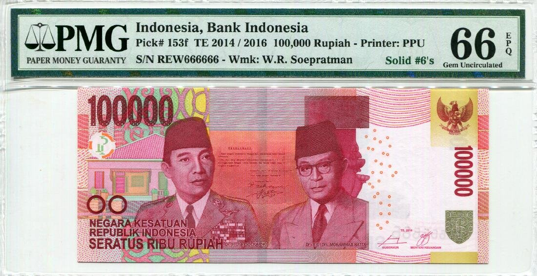 Indonesia 2014/16 100,000 Rupiah (P153f) Serial no. REW