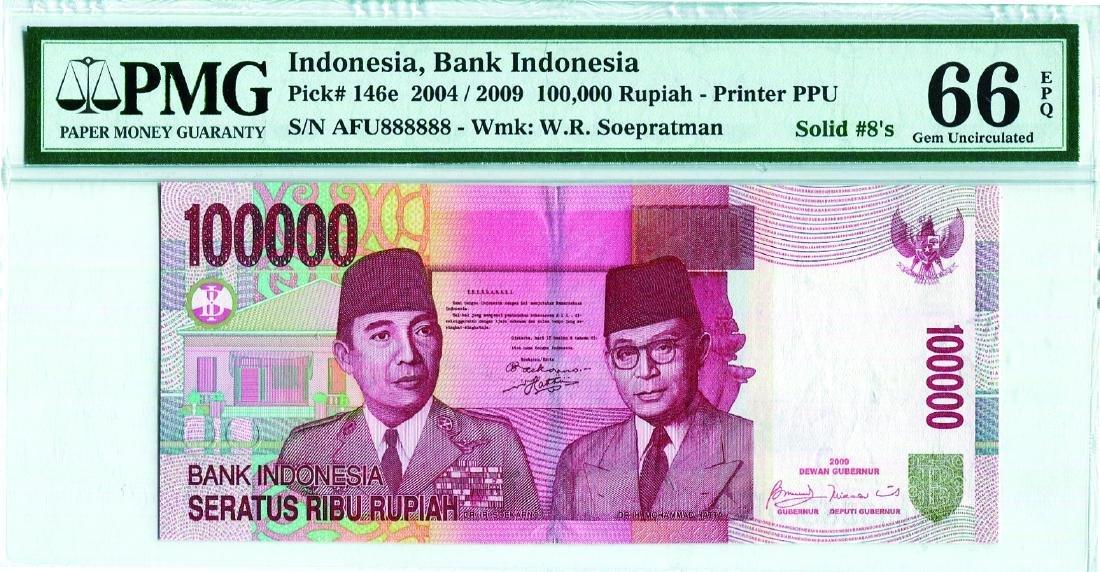 Indonesia 2004/09 100,000 Rupiah (P153f) Serial no. AFU