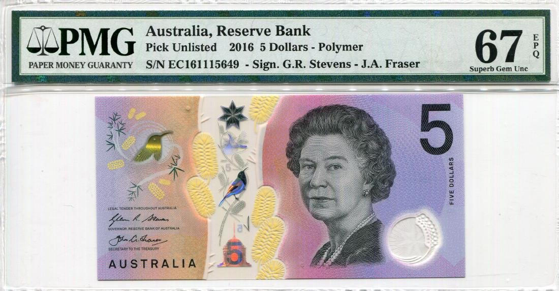 Australia 2016, Reserve Bank 5 Dollars Serial no. EC
