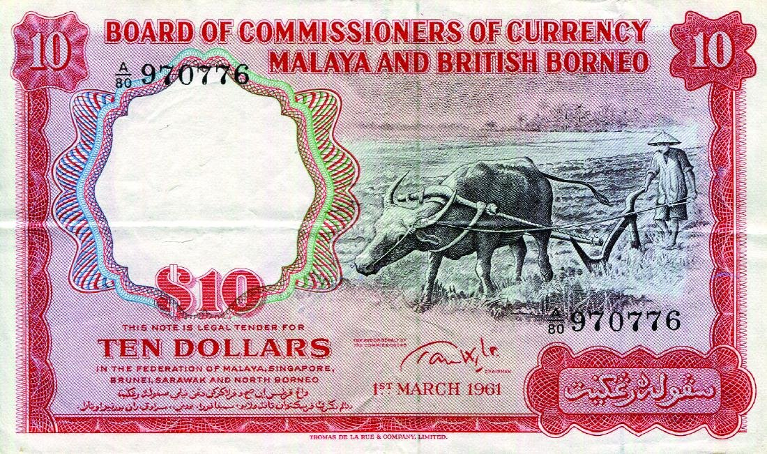 Malaya & British Borneo 1961, 10 Dollars, buffalo,