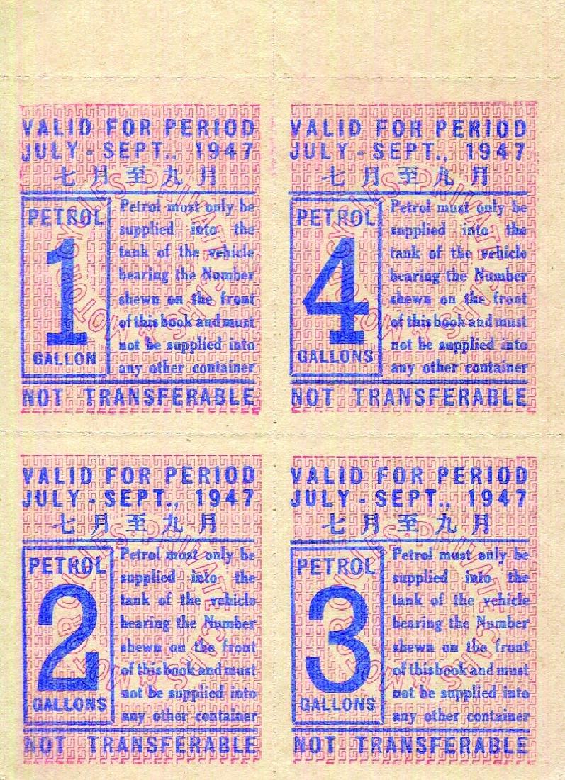 Malaya 1947, Petrol Coupon 1,2,3,4 Gallons units , AU,