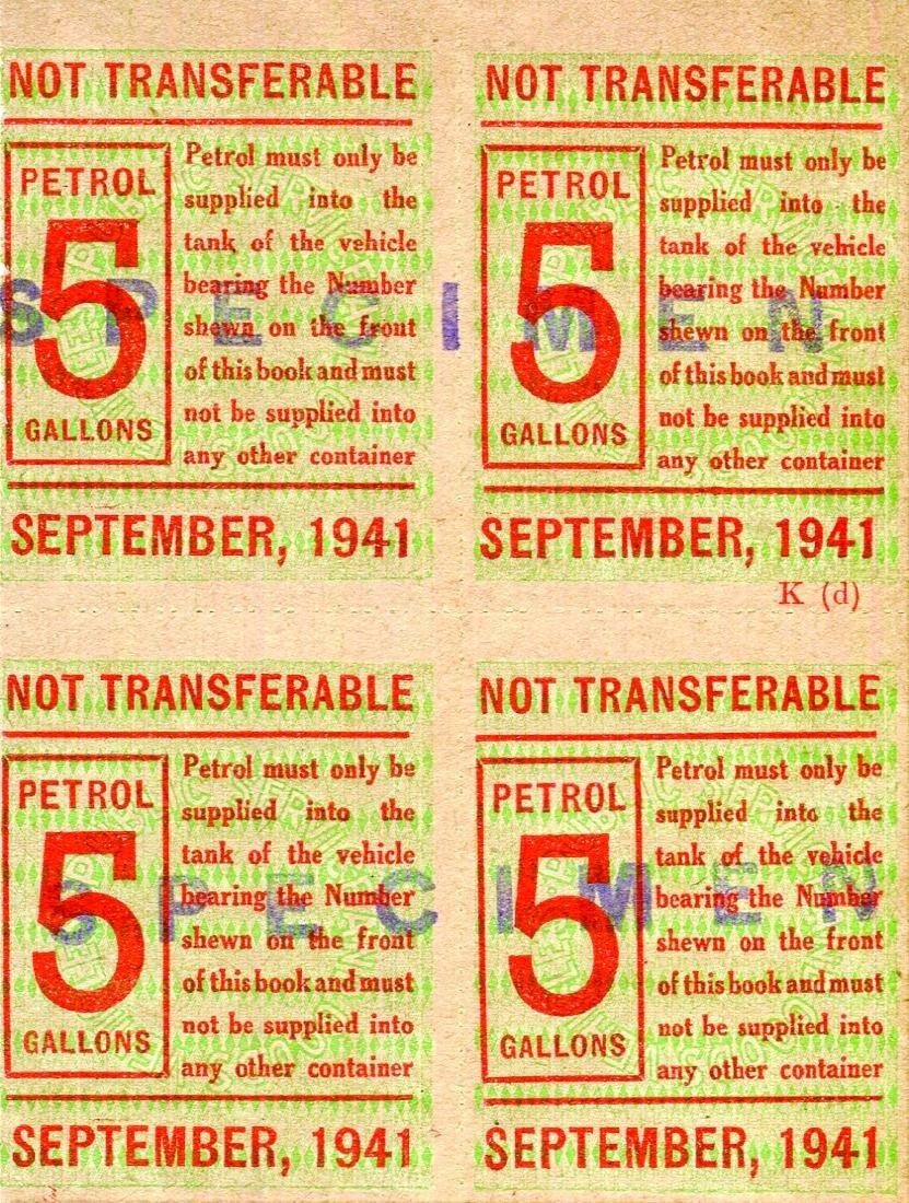 Malaya 1941, Petrol Coupon 5 Gallons Units Specimen ,