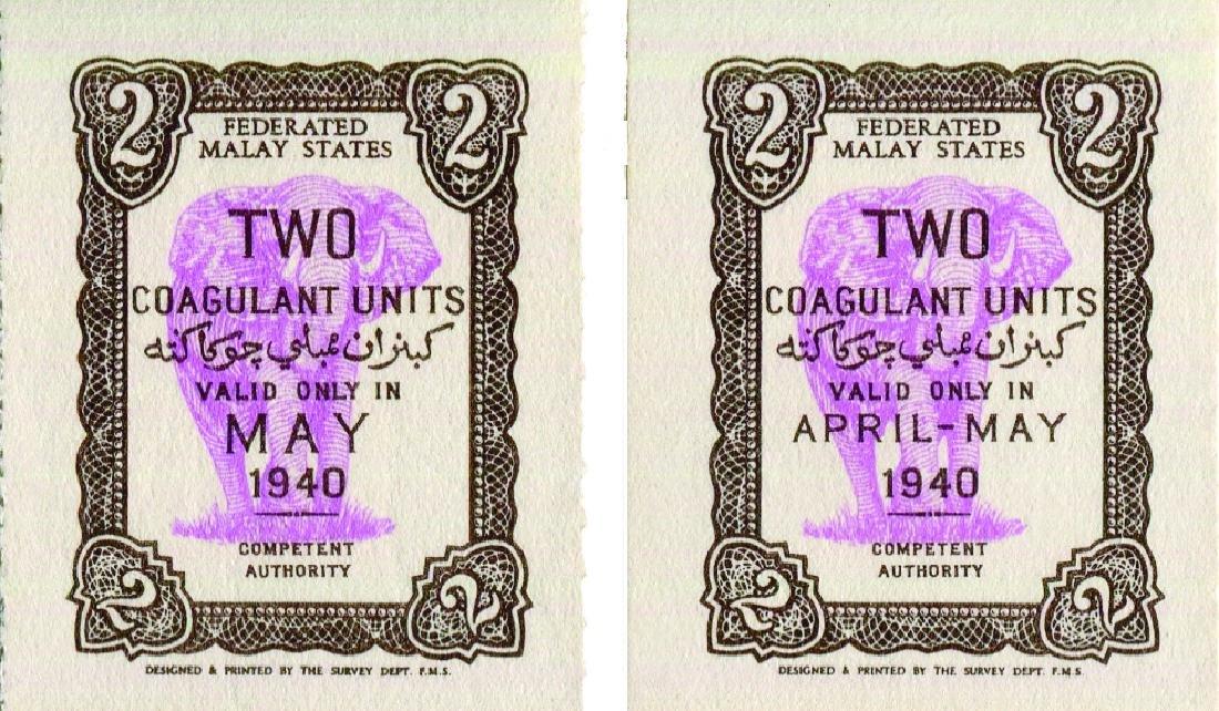 Federated Malay States April/May, May 1940, 2 Coagulant