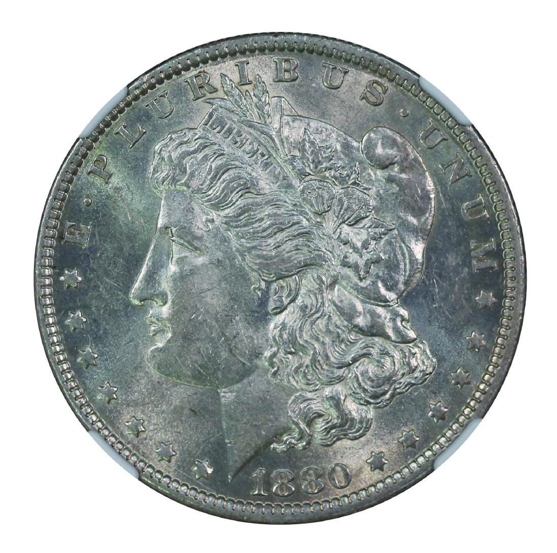 USA 1880 O, $1 NGC AU58