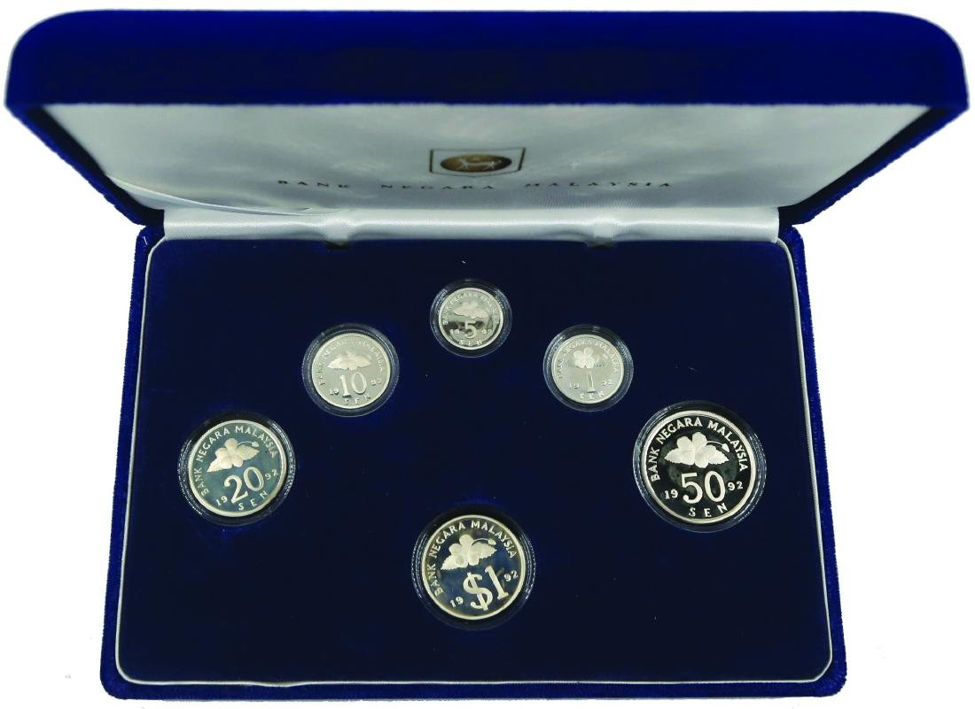 1992 Malaysia Proof Coin Set of 6 (KN44) 1, 5, 10, 20,